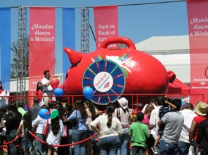 """Giant Mexican Piggy Bank built on Hydraulics for publicity kick-off event for Bank of America """"Safe Send """"tour"""