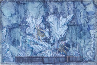 Water color rendering of set for La Galatea